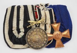 Hohenzollern: Ordenschnalle eines Frontsoldaten mit 3 Auszeichnungen.