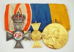 Preussen: Ordenschnalle eines Offiziers mit 3 Auszeichnungen.