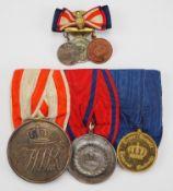 Preussen: Ordenschnalle mit 3 Auszeichnungen und Knopflochdekoration.