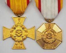 Lippe-Detmold: Kriegsverdienstkreuz, am Bande sowie Kriegs-Ehrenmedaille.