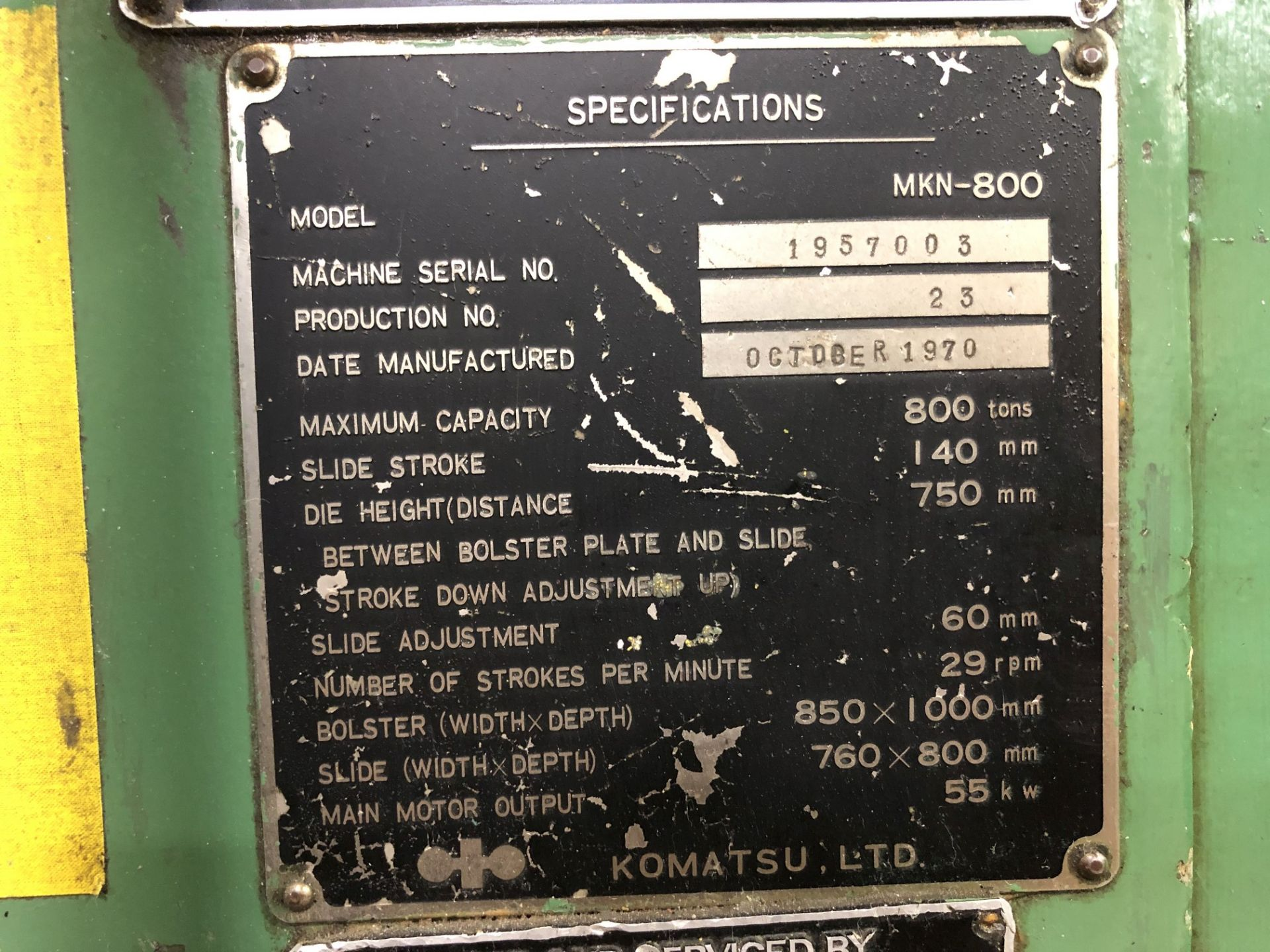 800 Ton Komatsu Maypress Knuckle Joint Press - Image 17 of 17