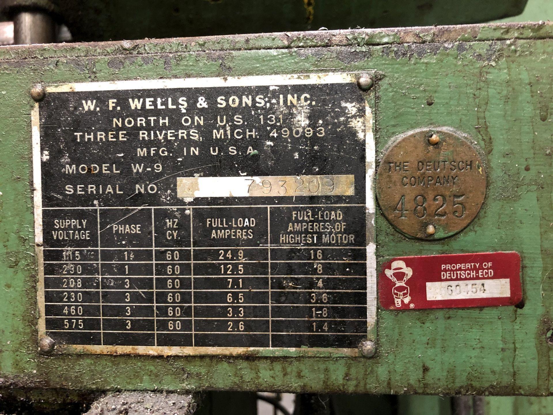 "W.F. Wells & Sons 9"" x 18"" Horizontal Band Saw - Image 4 of 4"
