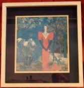 """""""Dame im Park"""", Druck, ca. 41 x 47 cm, Glasrahmen, Kein Postversand möglich"""