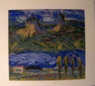 """""""Berglandschaft"""", Tempera Gemälde, u.li. monogr. EH, dat. '63unter Passepartout befes"""