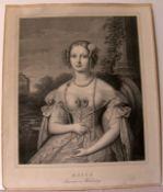 MARIE Prinzessin VON WÜRTENBERG, Lithographie, 19.Jhd.Blatt ca. 45 x 37 cm