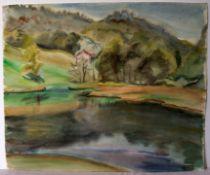 """Bergsee"", Aquarell, u.re.unleserlich sig., ca. 48 x 41 cm"