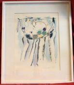 """DRIEFERS, """"Informel"""", Wachsstift auf Büttenpapier, u.re.sig., dat.' 87, ca. 38 x 48 cm, Glasrah"""