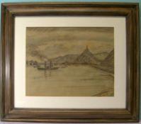 """TH. Stein (Rheinischer Maler um 1900), """"Marksburg bei Braubach"""", Pastellzeichnung/Tonpapier<"""