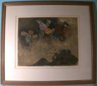 """RODO BOULANGER, (geb. 1935 La Paz/Bolivien), """"Vogel über den Hügeln""""Fardradierung, E"""