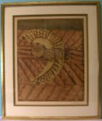 "BRIGITTE COUDRAIN (1934-), ""Eule"", Radierung, u.re.sig., ca. 53 x 44 cm"