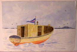 "LEDA, ""Boot mit Flagge"", Aquarell, u.re.sig, dat.'90, ca. 55 x 37 cm"