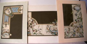 JH BLANC, 18. Jhd., 3 colorierte KupfersticheOrnamente, Freskenmalerei nach B.TORO Jun