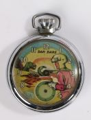 Dan Dare pocket watch, the face with Dan Dare and a Dinosaur approaching, chrome case, 50mm diameter