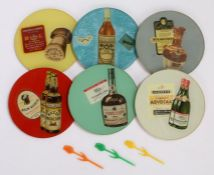 Collection of 1970's glass advertising bottle coasters, to include H L Blended whisky Brega Rossi