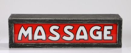 Soho interest, a late 20th Century trade sign for MASSAGE, red ground with white and black edged
