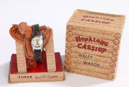 Timex Hopalong Cassidy wristwatch, the white dial with Arabic numerals, manual wound, the case 23.