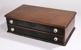 Victorian salesman's box, inscribed Clark & Co. Anchor Mills, with anchor logo, the two drawers with