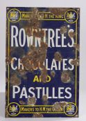 """Enamel advertising sign for """"Rowntree's Chocolates and Pastilles, makers to the King, makers to"""