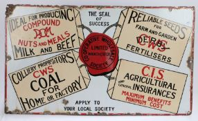 Co-operative Wholesale Society Limited Manchester enamel sign, featuring four luggage tags, united