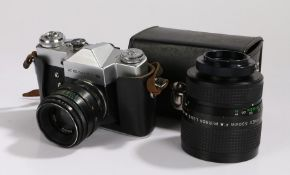 Zenit-B camera, No, 73122663, with a Helios-44-2 lens, f/2/58, housed in an original case,