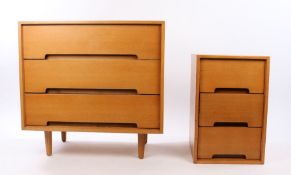 Stag light oak chest of drawers, with three long drawers, together with a smaller Stag light oak