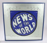 News of the World advertising sign, now applied to a mirror, housed in a blue frame, AF, 63cm x