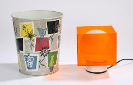 Worcester Ware waste paper bin, with a speckled design and colourful panel design, together with a