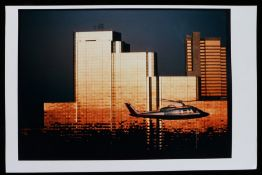 """""""Helicopter Near Skyscraper"""", depicting a helicopter passing in front of a group of skyscrapers at"""