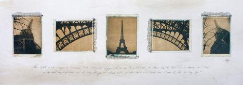 """Michael Bryant - """"Paris Sketchbook"""", a photographic plate depicting five photos of Paris, the"""