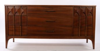 Perspecta by Kent Coffey sideboard, pecan wood, with a rectangular top above three drawers and