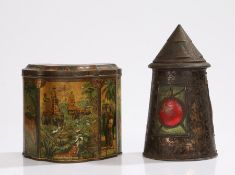 Huntley and Palmers lantern form biscuit tin, Huntley and Palmers biscuit tin decorated with tiger