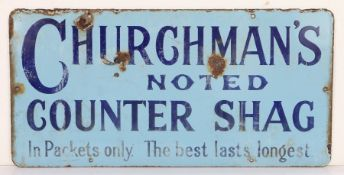 """Churchman's enamel sign, the light blue ground with navy lettering """"CHURCHMAN'S NOTED COUNTER"""