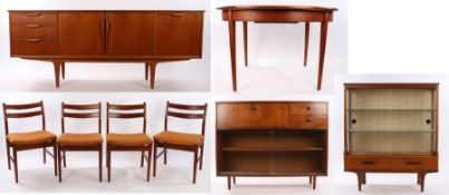 Mid 20th Century Avalon teak dining room suite, consisting with an extending table, four chairs,