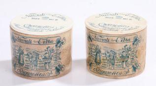 Two Victorian Naviali Extra Size No2 Cigarettes stoneware pot and cover, Navrati Extra Cigarettes,