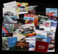Automobilia, a collection of car brochures, to include Jensen, Aston Martin, Austin Rover, Range