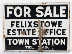 Felixstowe Estate Office enamel sign, FOR SALE FELIXSTOWE ESTATE OFFICE TOWN STATION TEL. 349,