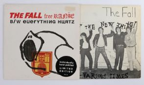"""2 x The Fall 7"""" singles. It's The New Thing / Various Times ( SF9 ). Free Range / Everything Hurtz ("""
