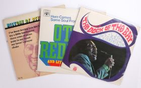 3 x Otis Redding LPs. Sittin' On The Dock Of The Bay ( 230 001 ). mono. Here Comes Some Soul From