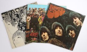 3 x Beatles LPs. Rubber Soul ( PMC 1267 ). Revolver ( PMC 7009 ). Sgt. Pepper's Lonely Hearts Club
