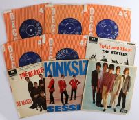 """4 x 7"""" EPs. The Beatles (2) - The Beatles' Hits ( GEP 8880 ).Twist And Shout ( GEP 8882 ). The Kinks"""