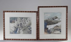 "Two Swiss photographs, circa 1925, ""Belvedere Hotel overlooking ice waves of the Rhone Glacier,"