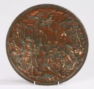 19th Century copper panel, with a classical scene to the dish panel and screw thread behind, 27cm