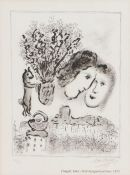After Marc Chagall, Petit Autoportrait Noir, 1975, pencil signed and numbered 29/50, 13cm x 18cm