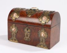 Victorian walnut stationary box, with gilt metal straps set with enamel roundels each displaying a