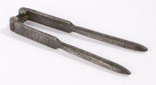 Pair of large steel nutcrackers, 20cm long