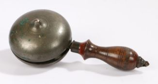 19th Century Hawker's bell, with turned wooden handle, 20cm long