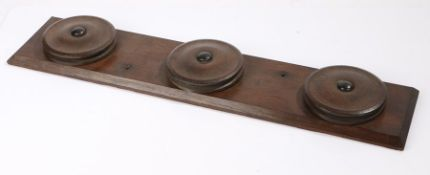 Carriage whip rack with three rotating roundels, 66cm x 14cm