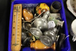 Works of art to include cheroot holders, opera glasses, pewter, thermometer, treen thimble holder