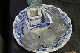 "Two Booths ""British Scenery"" pattern plates, two pot pourri vases, Japanese porcelain tea bowl"