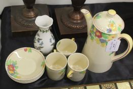 Royal Doulton Minden pattern part coffee set, consisting of coffee pot, three coffee cups and
